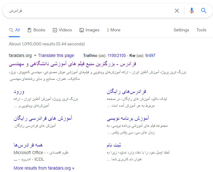 پیوندهای سایت (Site Links) در نتایج SERP گوگل